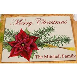 Personalized Poinsettia Welcome Doormat