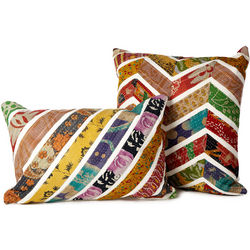 Chevron Recycled Sari Pillow