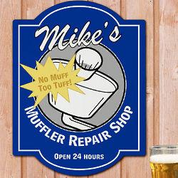 Muffler Repair Shop Personalized Wall Sign