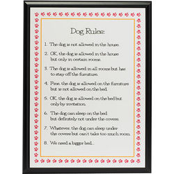 Dog Rules Framed Wall Plaque