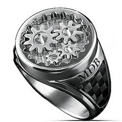 Personalized Gearhead Ring with Working Gears