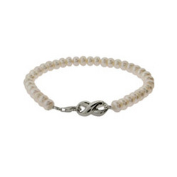 Tiffany Inspired Freshwater Pearl Infinity Clasp Bracelet