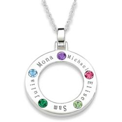 Family Birthstone Pendant with Names