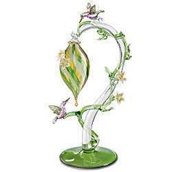 Hummingbird Feeder Glass Art Figurine