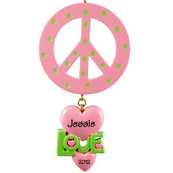 Pink Peace Sign and Dangling Heart Personalized Ornament