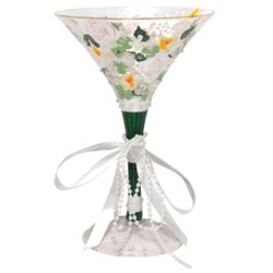 Bridal Bouquet Hand-Painted Martini Glass