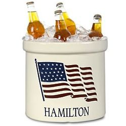 2 Gallon Pottery Crock American Heritage Flag
