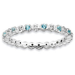Sterling Silver Blue Topaz and Diamond Stackable Ring