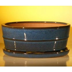 Glazed Blue Bonsai Pot with Drip Tray