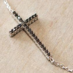 Sterling Silver Dual Tone CZ Sideways Cross Necklace