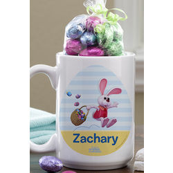 15-Ounce Personalized Peter Cottontail Easter Mug with Chocolate