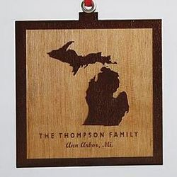 Personalized State Square Wood Ornament