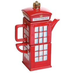London Calling Telephone Booth Pottery Tea Pot and Cup