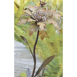 Yellow Jeweled Metal Flower Garden Stake