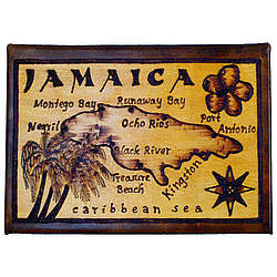 Jamaica Map Leather Photo Album in Natural