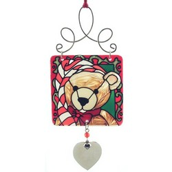 Engravable Teddy Bear Christmas Stained Glass Ornament
