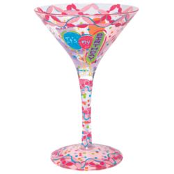 It's My Birthday Hand-Painted Martini Glass