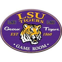 LSU Tigers Oval Style Game Room Sign