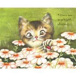 Lazy Daisy Kitten Personalized Art Print