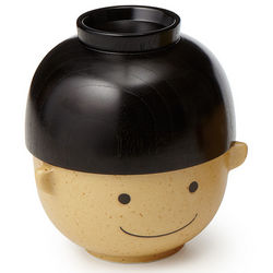 Wooden Smiley Face Bowl Set