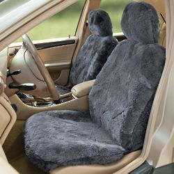 Elegant Charcoal Sheepskin Seat Cover