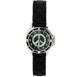 Black Peace Sign Mood Dial Jelly Watch