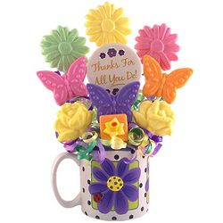 Thanks Lollipop Bouquet in Daisy Mug