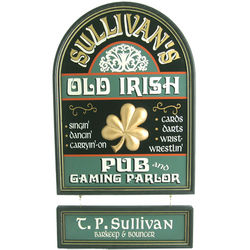 Handcrafted Old Irish Pub and Gaming Parlor Sign with Nameboard