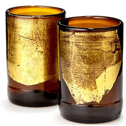Gold Leaf Upcycled Beer Bottle Tumblers