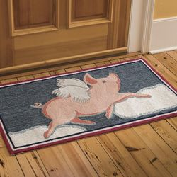 Easy Care Flying Pig Accent Rug