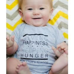 Giving Happiness Helping Hunger Grey Bodysuit