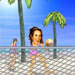 Custom Photo in a Beach Volleyball Caricature