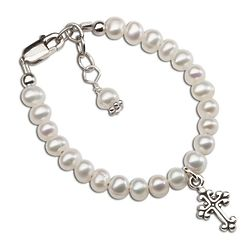 Girl's Freshwater Pearl Bracelet with Cross Charm