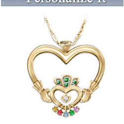 Irish Mother's Love Personalized Diamond and Birthstone Pendant