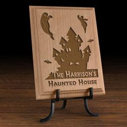 Personalized Haunted House Wooden Plaque