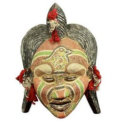 Ancient River Goddess Congolese Wood Mask