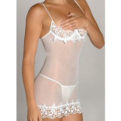 Venice and Mesh Shelf Bra Chemise with G-String - FindGift.com