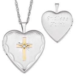 Sterling Silver Diamond Accent Cross Engraved Locket