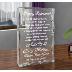 Personalized Happy Retirement Block