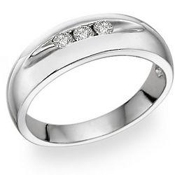14K White Gold Men's 3 Stone Diamond Ring