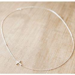 Sterling Silver Petite Sideways Cross Necklace