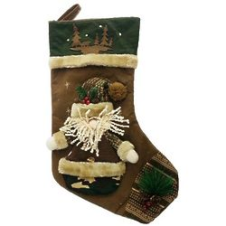 Rustic Plush Santa Stocking