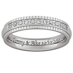 Personalized Titanium Beaded Engraved Band