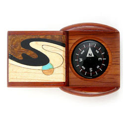 Padauk Wave Hardwood Pocket Compass