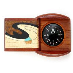 Padauk Wave Hardwood Pocket Compass