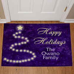 Happy Holidays Personalized Christmas Tree Doormat