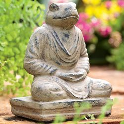 Meditating Frog Cast Stone Garden Sculpture