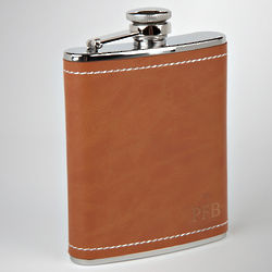 Personalized Carmel Valley Leather Flask
