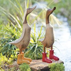 Carved Bamboo Wood Duck with Rain Boots Sculpture