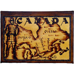 Canada Map Leather Photo Album in Natural